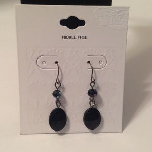 Black Silver Tone Fashion Dangle Earrings
